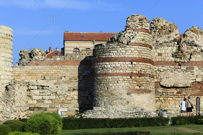 September 3, 2019: Ruins of a fortress in nessebar, bulgaria.