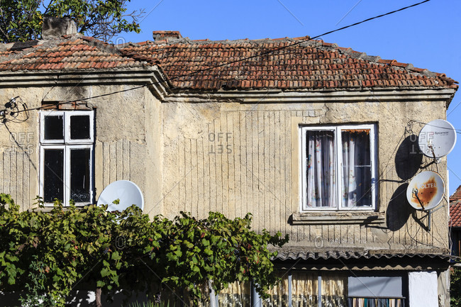 September 6, 2019: Old house with brick roof, obzor, bulgaria