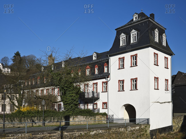Europe, germany, hesse, nassau-dillenburg, orange city dillenburg, german half-timbered street, untertor with former city castle