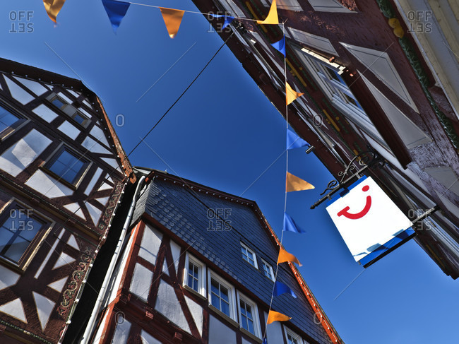March 25, 2020: Europe, germany, hesse, nassau-dillenburg, orange city dillenburg, german half-timbered street, half-timbered gable in the main street