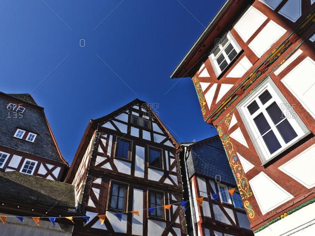 Europe, germany, hesse, nassau-dillenburg, orange city dillenburg, german half-timbered street, half-timbered gable in the main street