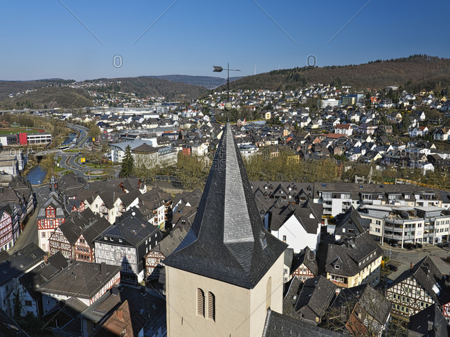 Europe, germany, hesse, nassau-dillenburg, orange city dillenburg, german half-timbered street, view from the schloßberg over the parish church to the old town to the northwest