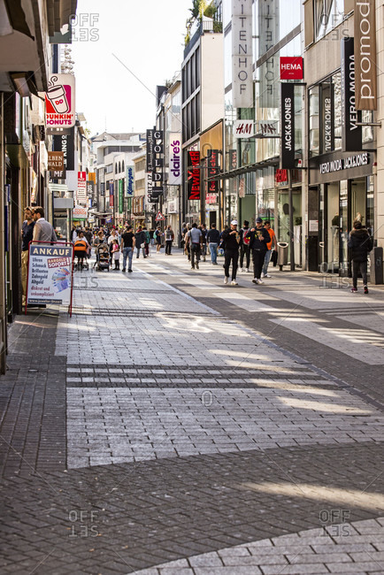 April 20, 2020: Shopping street in cologne on the day when the first shops were allowed to open again.