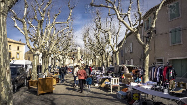 March 8, 2020: Flea market in azille in winter