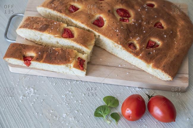 Homemade apulian focaccia, typical italian food