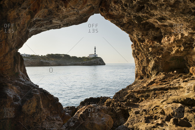 Lighthouse in portocolom, cova foradada, mallorca, balearic islands, spain