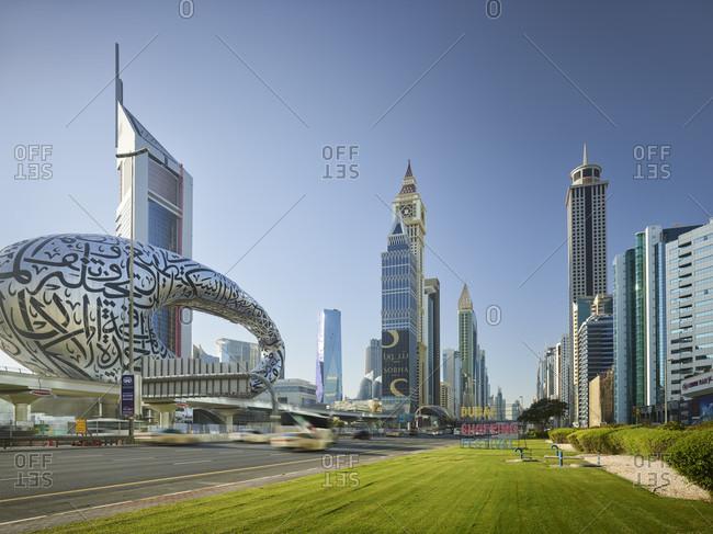January 16, 2020: Sheikh zayed road, emirates towers, al yaqoub tower, dubai, united arab emirates