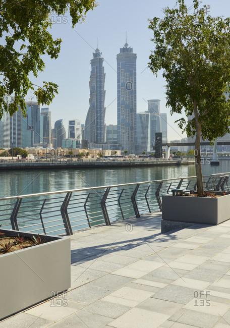 January 16, 2020: Promenade on dubai creek, emirates park towers, dubai, united arab emirates