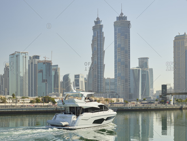 January 16, 2020: Yacht in dubai creek, emirates park towers, dubai, united arab emirates