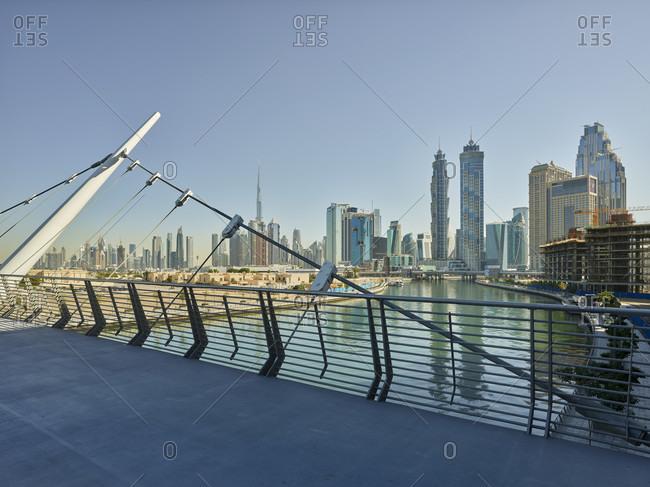 January 16, 2020: Dubai creek, burj khalifa, emirates park towers, dubai, united arab emirates