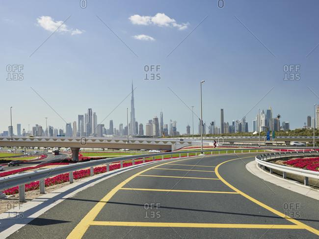 January 16, 2020: Skyline from a freeway entrance, dubai, united arab emirates