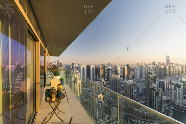 January 16, 2020: View from an apartment over the dubai marina, dubai, united arab emirates