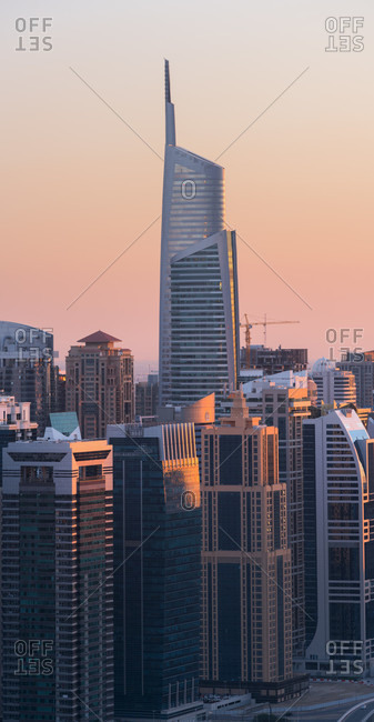 January 16, 2020: Jumeirah lake towers from the dubai marina, almas tower, dubai, united arab emirates