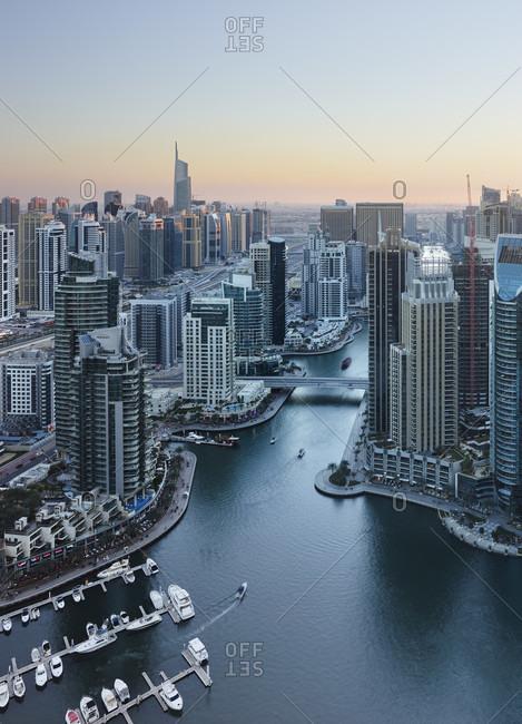 January 16, 2020: View over the dubai marina, dubai, united arab emirates