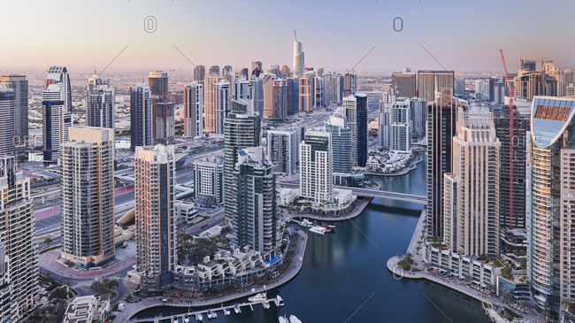 January 17, 2020: View over the dubai marina, dubai, united arab emirates