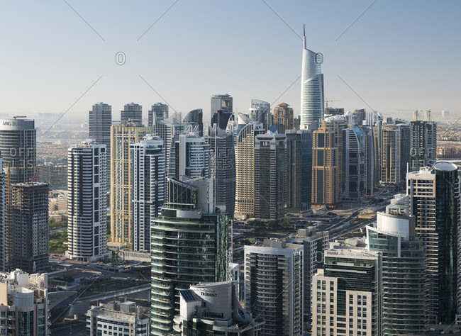 January 17, 2020: Jumeirah lake towers from dubai marina, almas tower, sheikh zayed road, dubai, united arab emirates