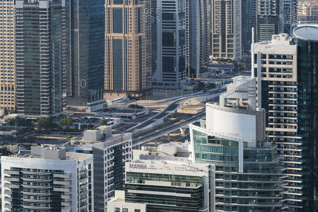 January 17, 2020: Jumeirah lake towers, sheikh zayed road, dubai, united arab emirates