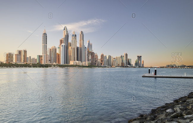 January 18, 2020: View of the dubai marina from the palm jumeirah, dubai, united arab emirates