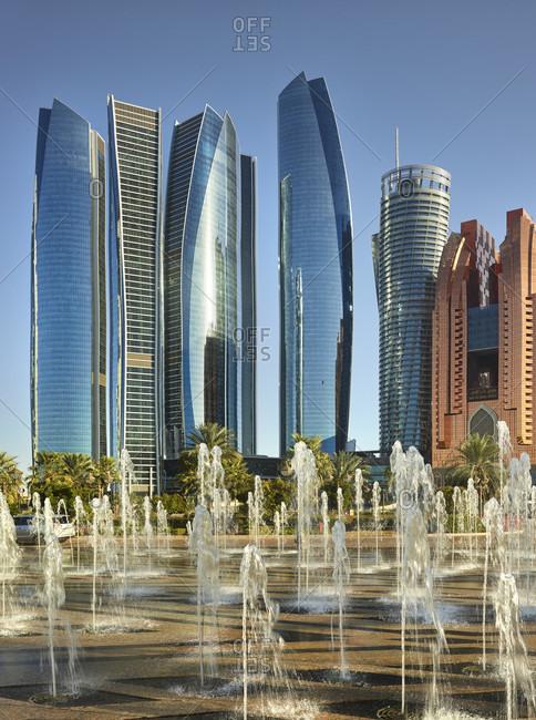 January 18, 2020: Etihad towers, fountain, abu dhabi, united arab emirates