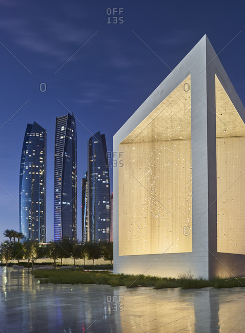 January 19, 2020: Sheikh zayed founder's memorial, etihad towers, abu dhabi, united arab emirates
