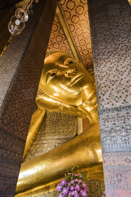 Thailand - March 5, 2018: The Reclining Buddha in Wat Pho in Bangkok