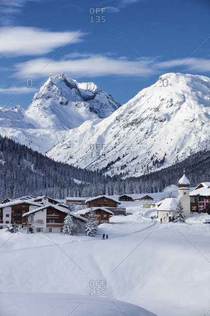 Austria, Osterreich - December 15, 2017: Winter Landscape near Lech am Arlberg with view towards the Village of Zug