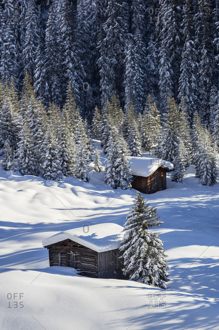 Winter Landscape near Lech am Arlberg with View towards the Village of Zug, Chalet
