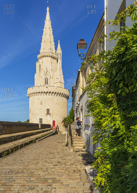 France - July 28, 2018: Tour de la Lanterne (Lantern tower) near the old harbor