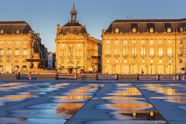 France - July 30, 2018: Place de la Bourse, Water basin