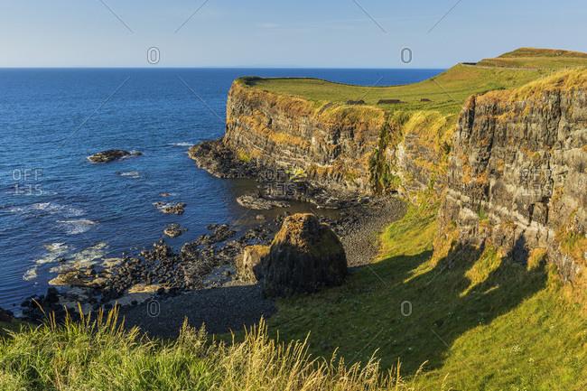 Cliffs near Dunluce Castle along the Causeway Coastal Route