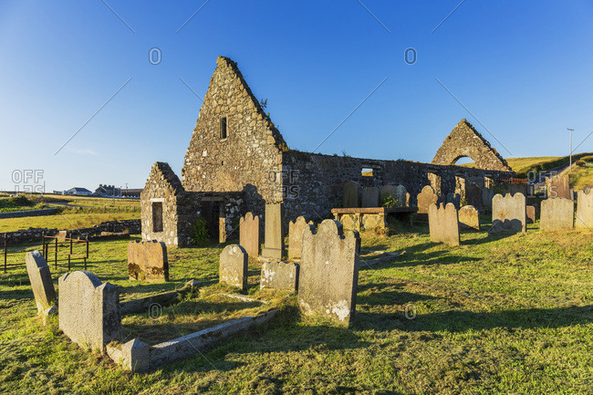 Old ruined church and cemetery near Dunluce Castle along the Causeway Coastal Route