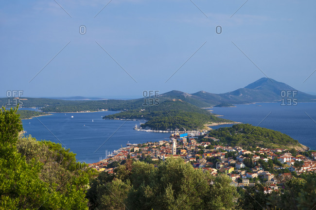 View from the Tematski Vidikovac Providenca toward the Mali Losinj village and Unje Island in background
