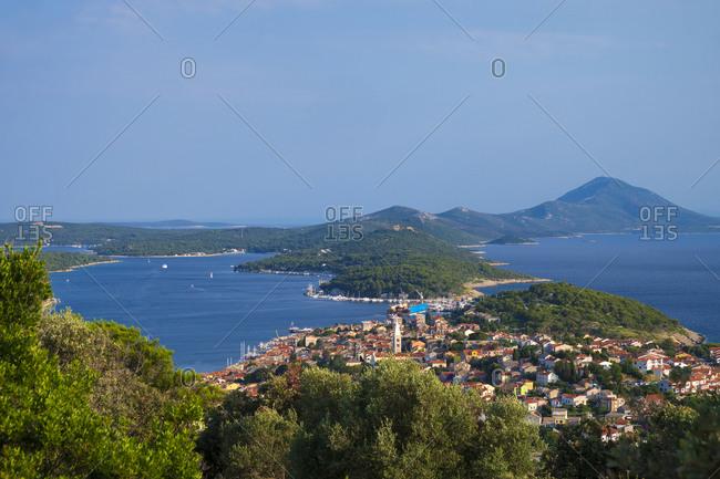 View from the Tematski Vidikovac Providenca toward the Mali Losinj village and Unje Island in background