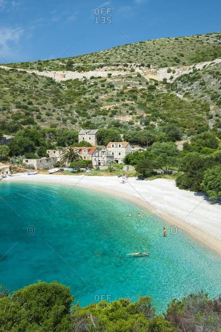 Dalmatia, Croatia - May 12, 2018: The Dubovica bay and beach