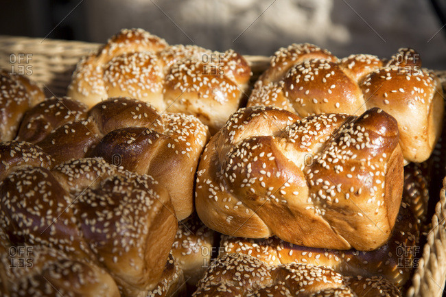 Challah bread in a wooden basket