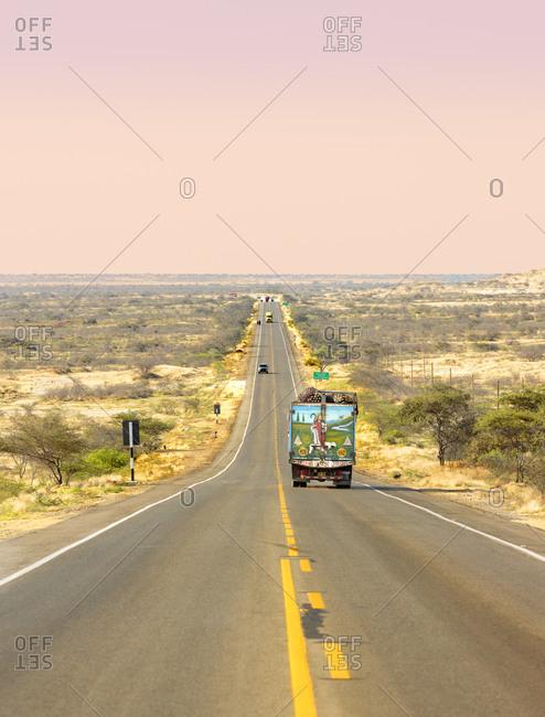 Piura, Peru - September 19, 2017: Road through the desert