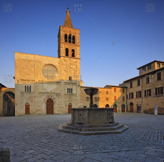Empty Piazza Silvestri (Silvestri Square) in Italy