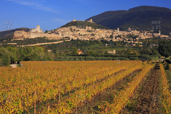 Italy - October 19, 2018: View of the town from nearby autumn colored vineyards