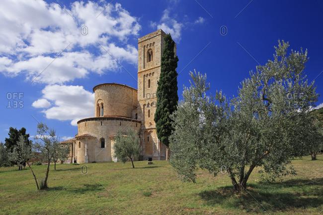 Italy - September 11, 2010: Sant'Antimo Abbey, near Montalcino
