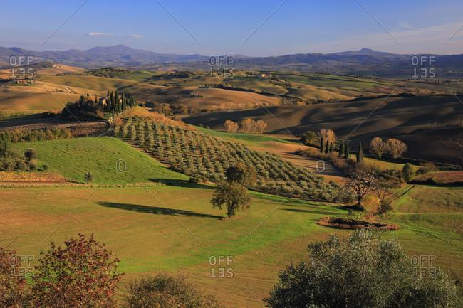 Italy - November 15, 2018: Podere Belvedere farmhouse surrounded by the Crete Senesi
