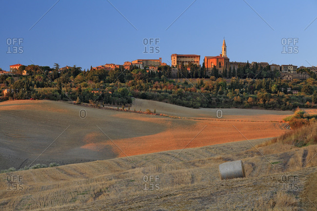 Italy - September 11, 2010: The village seen from the surrounding crop fields