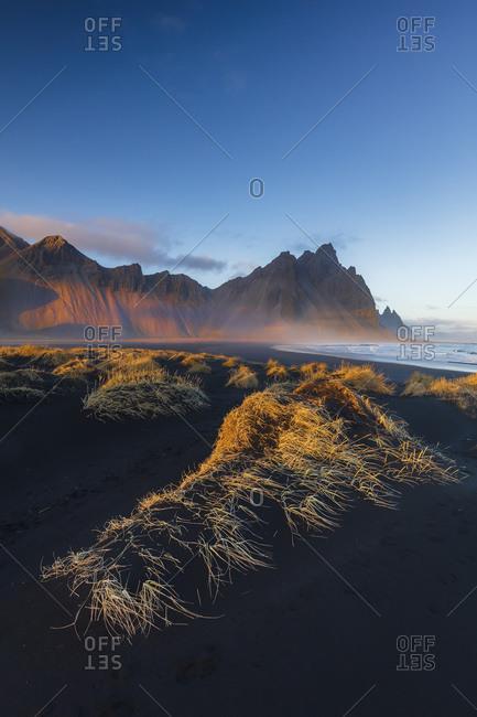 Vestrahorn mountain at sunset, Stokksnes headland