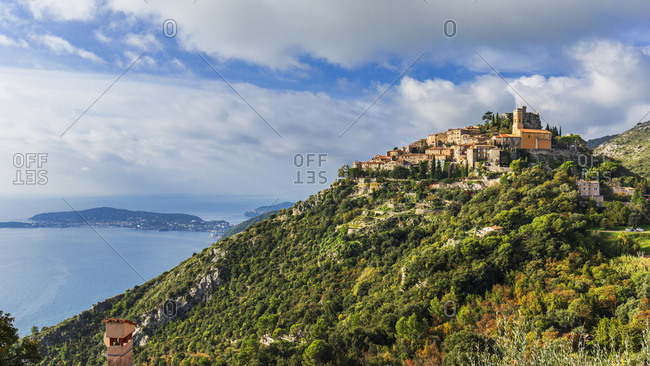 Eze village and Cap Ferrat, panoramic view of the village