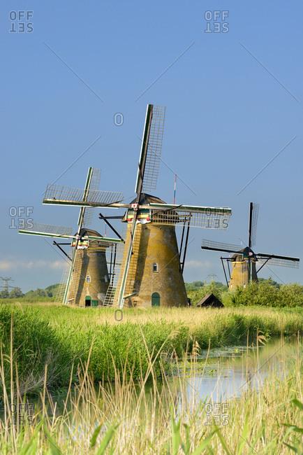 Windmills in Kinderdijk along main canal