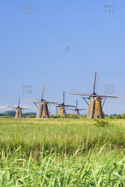 Typical windmills in Kinderdijk, Netherlands