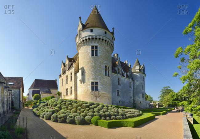 France - May 21, 2018: Milandes Castle and Gardens (Le Chateau et jardins des Milandes)