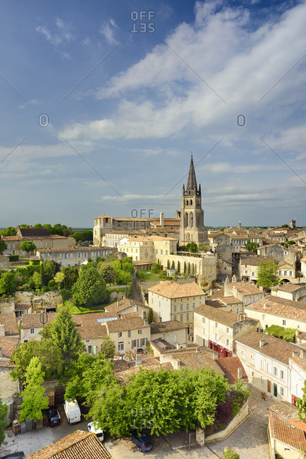 View of Monolithic church of Saint-Emilion and bell tower