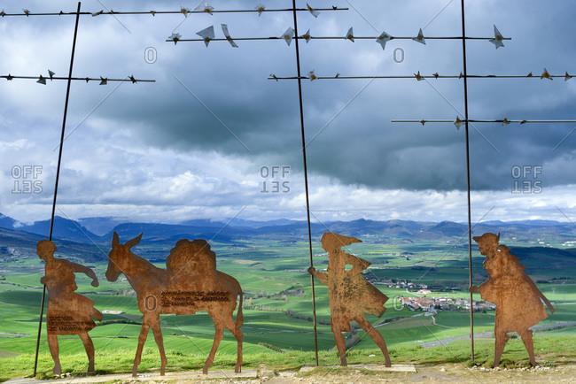 Spain - April 9, 2018: Alto del Perdon pilgrims monument