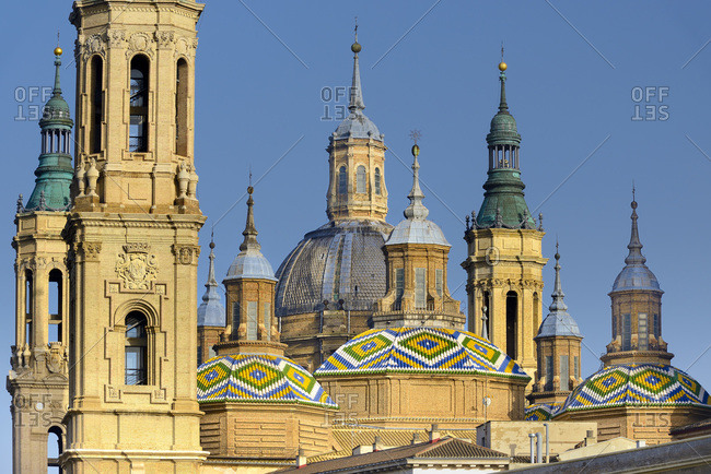View of Basilica of Our Lady of the Pillar over Zaragoza