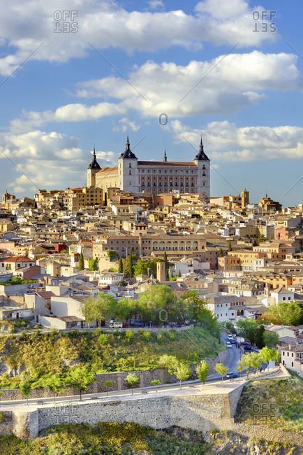 View over Alcazar de Toledo and Toledo old town city center